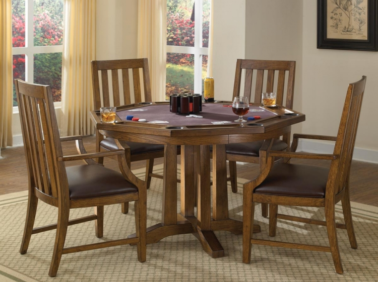 Arts and Crafts Game Table Set - Oak - Home Styles