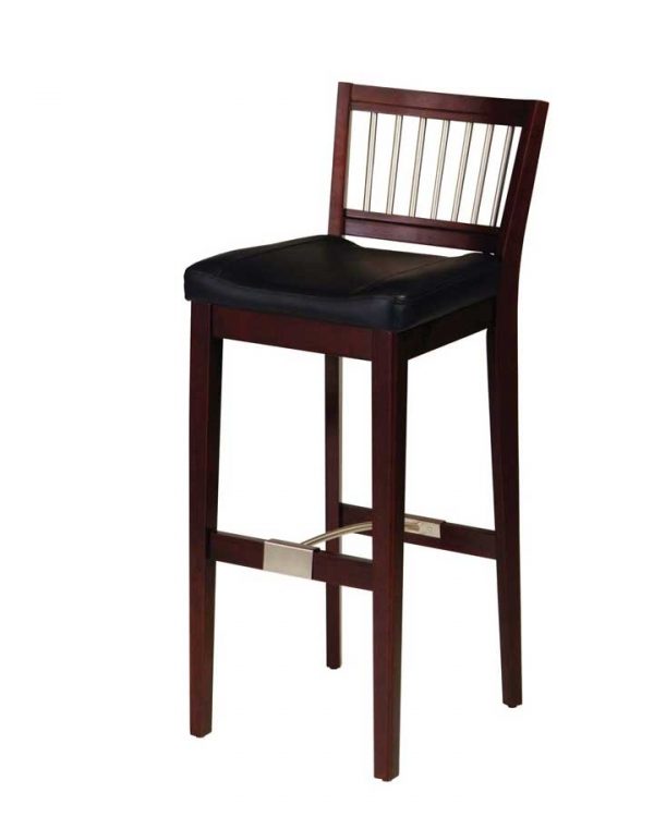 Bar Stool with Metal Stretcher - Cherry - Home Styles