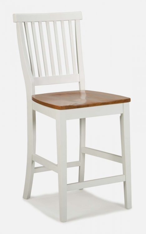 5002 White Counter Stool with Oak Seat - Home Styles