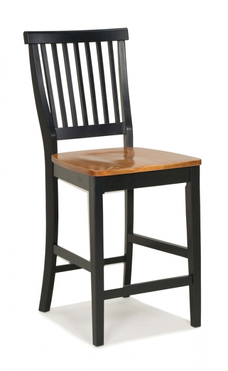 5003 Black Counter Stool with Oak Seat - Home Styles
