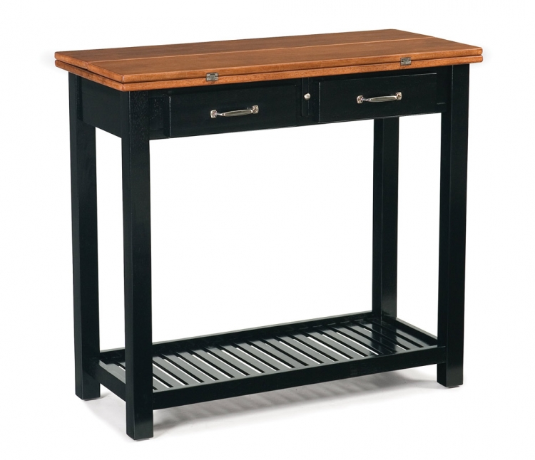 Expandable Console Dining Table - Black and Cottage Oak
