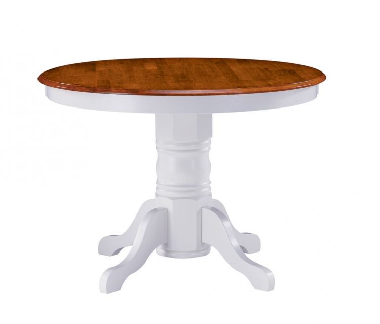 Round Pedestal Dining Table - White and Cottage Oak