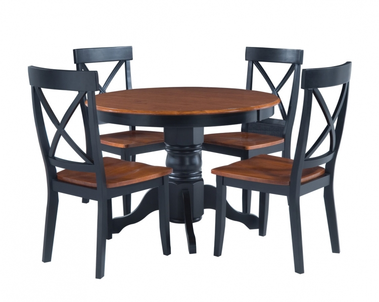 Round Pedestal Dining Collection - Black and Cottage Oak