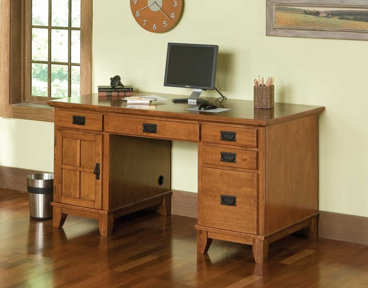 Arts and Crafts Cottage Oak Pedestal Desk - Home Styles