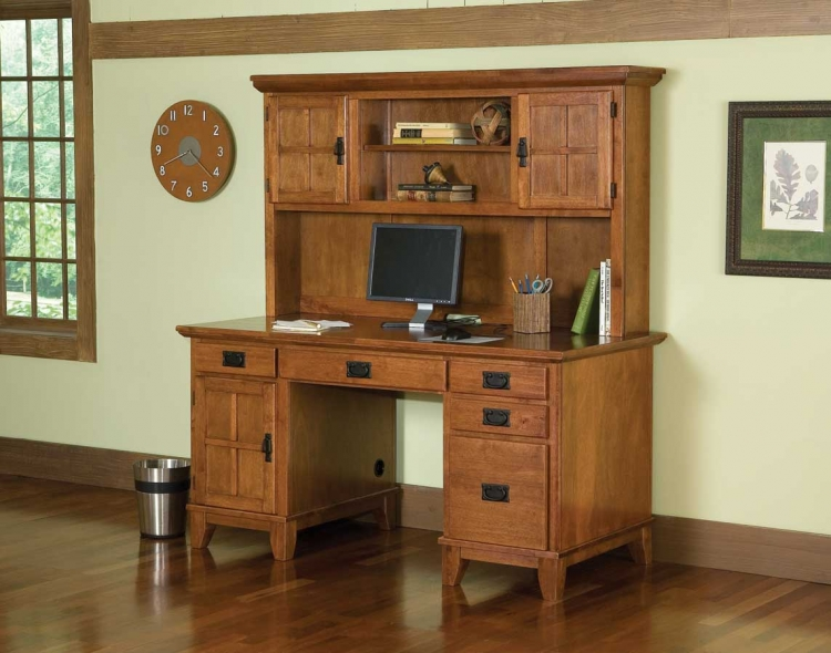 Arts and Crafts Cottage Oak Pedestal Desk and Hutch - Home Styles