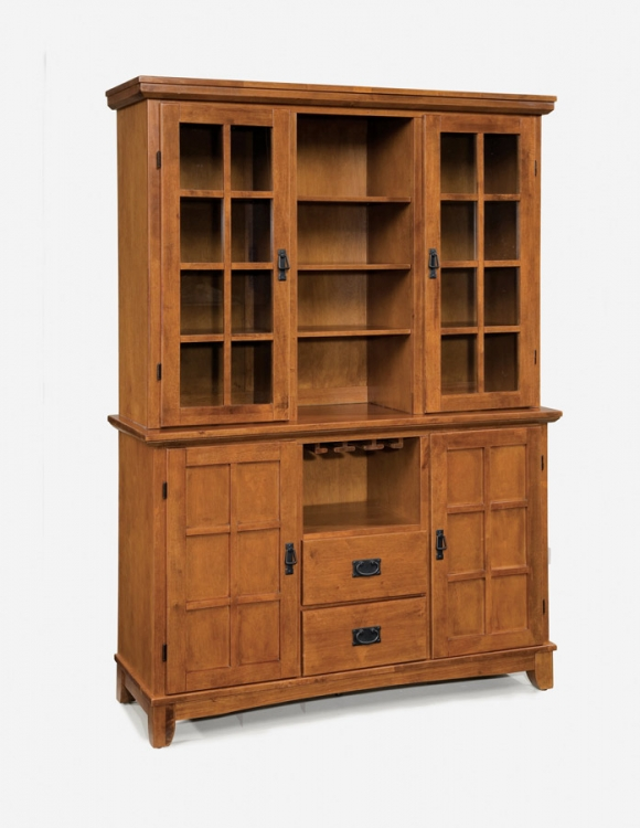 Arts and Crafts Dining Buffet and Hutch - Cottage Oak - Home Styles