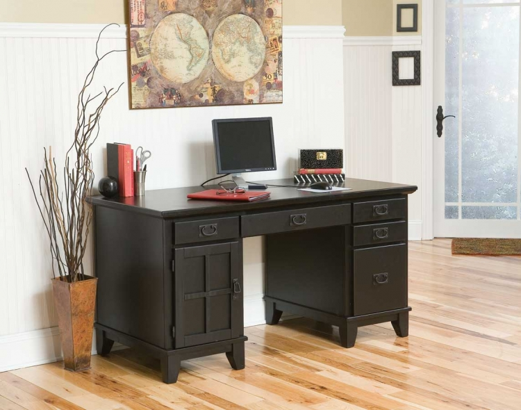 Arts and Crafts Ebony Pedestal Desk - Home Styles