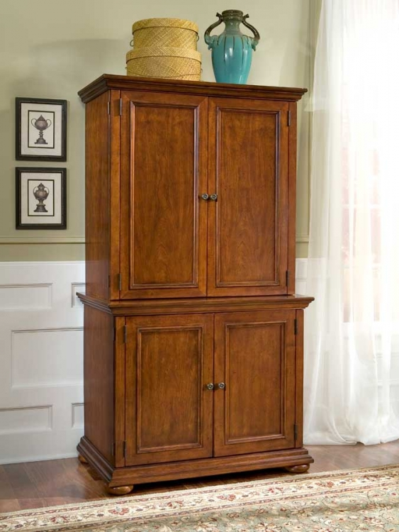 Homestead Compact Office Cabinet and Hutch - Home Styles
