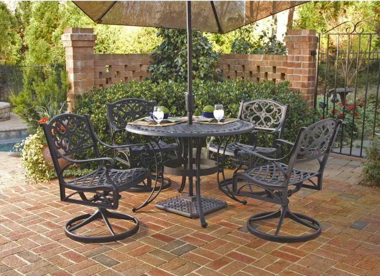 Black 48 Inch Round Outdoor Dining Collection with Swivel Arm Chair - Home Styles