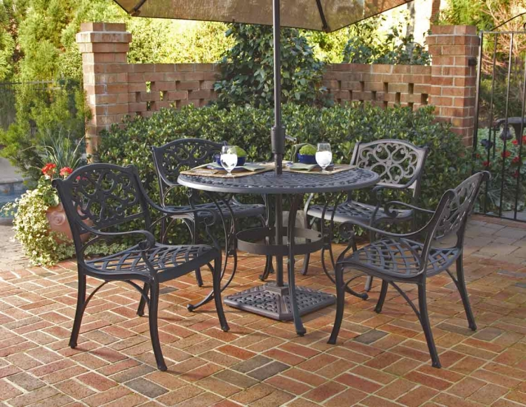 Black 42 Inch Round Outdoor Dining Collection with Arm Chair - Home Styles
