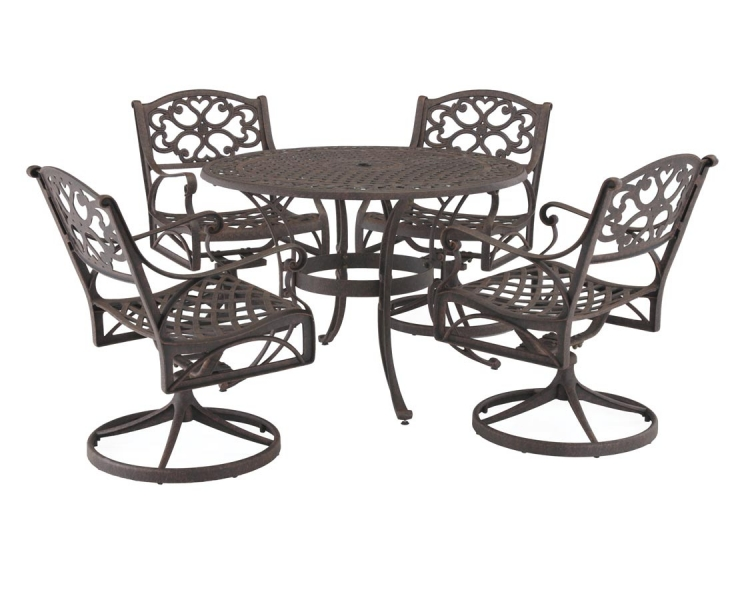 Rust Brown 42 Inch Round Outdoor Dining Collection with Swivel Arm Chair - Home Styles