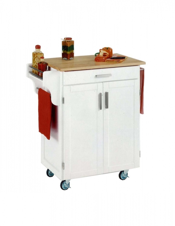Cuisine Cart with Natural Wood Top - White