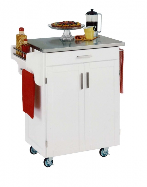 Cuisine Cart Stainless Top - White