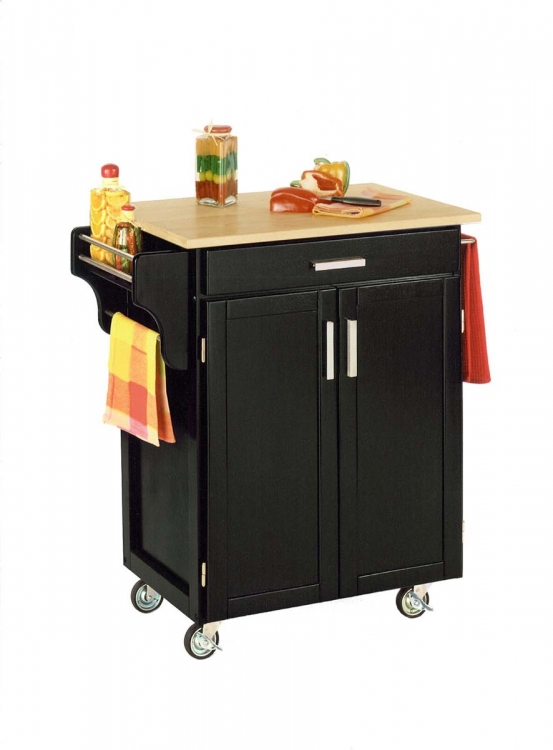 Cuisine Cart with Wood Top - Black
