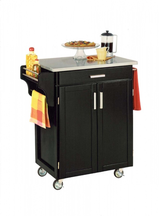 Cuisine Cart Stainless Top - Black