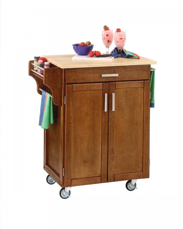 Cuisine Cart Warm with Wood Top - Cottage Oak - Home Styles