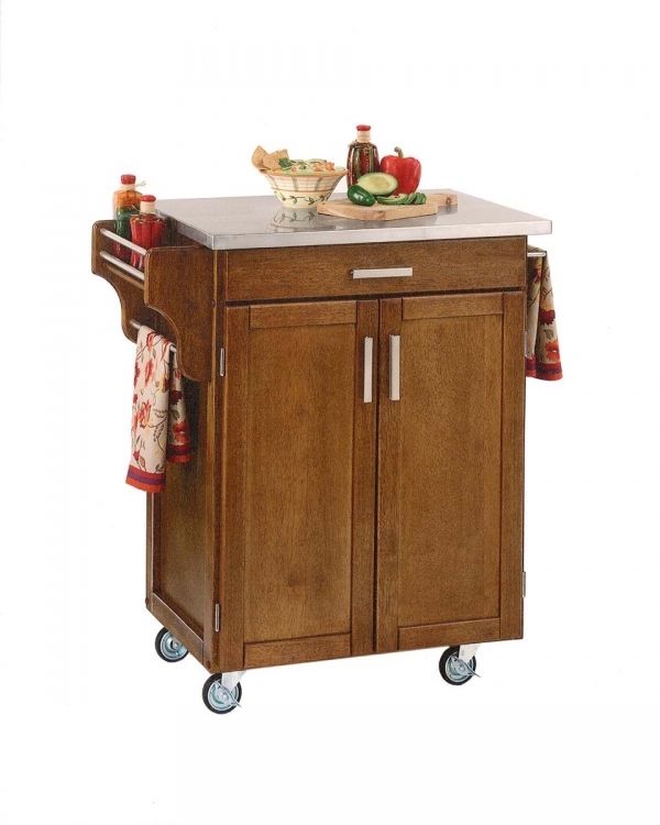 Cuisine Cart Stainless Top - Cottage Oak