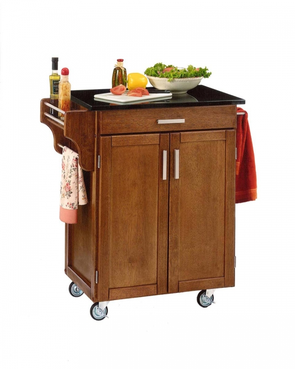 Cuisine Cart Black Granite Top - Cottage Oak