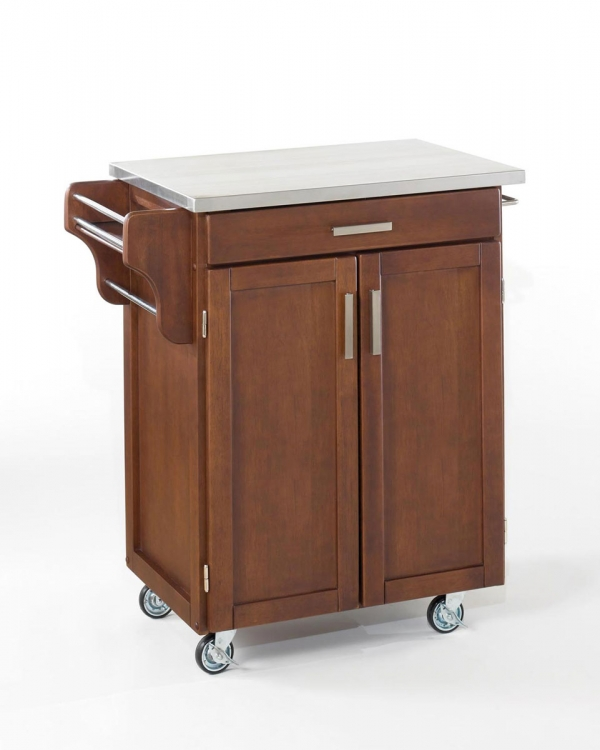 Cuisine Cart Stainless Top - Cherry - Home Styles