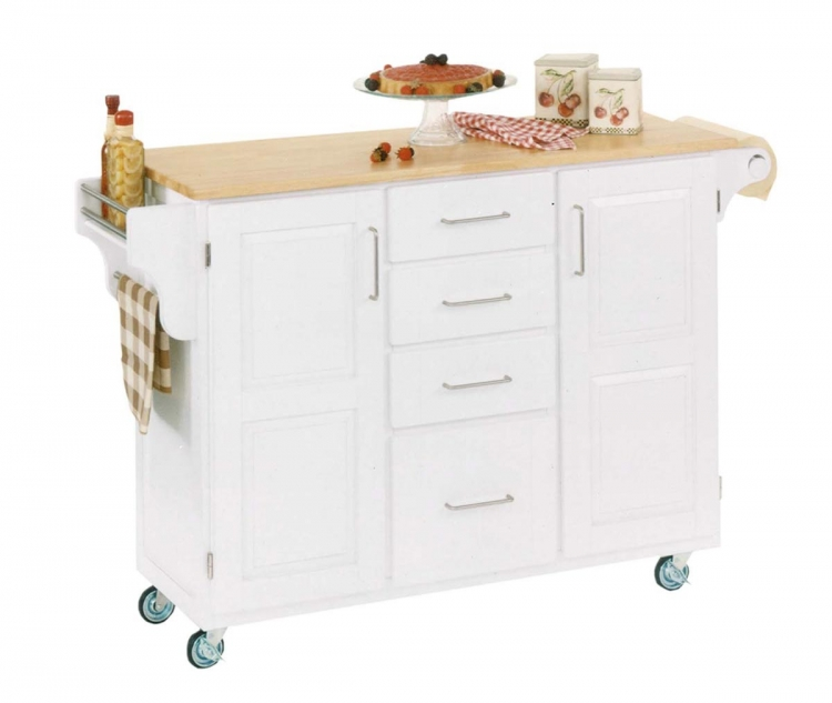 Create-A-Cart with Natural Wood Top - White