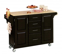 Create-A-Cart with Wood Top - Black - Home Styles