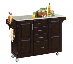 Create-A-Cart Stainless Top - Black - Home Styles