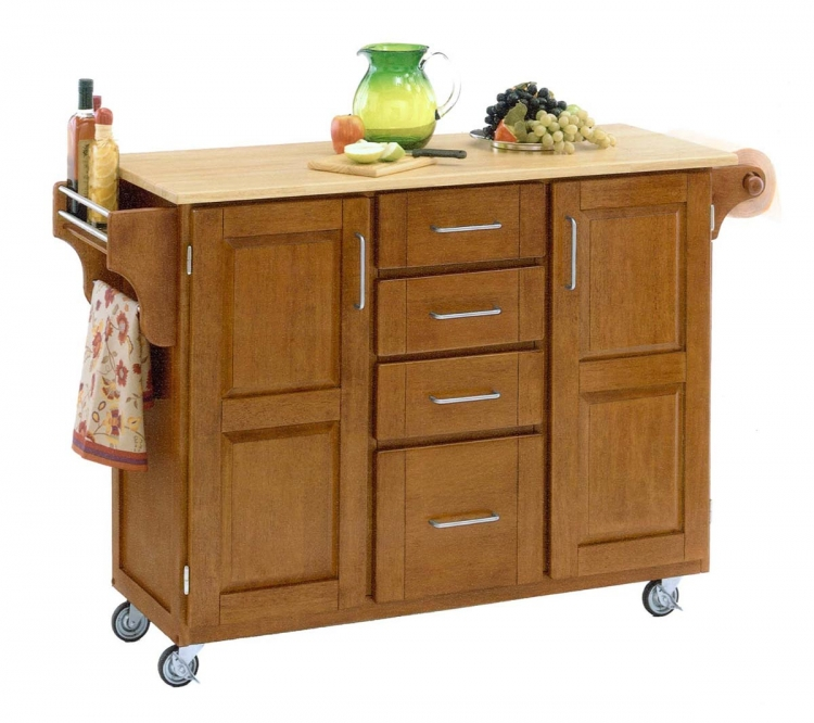 Create-A-Cart Warm with Wood Top - Cottage Oak