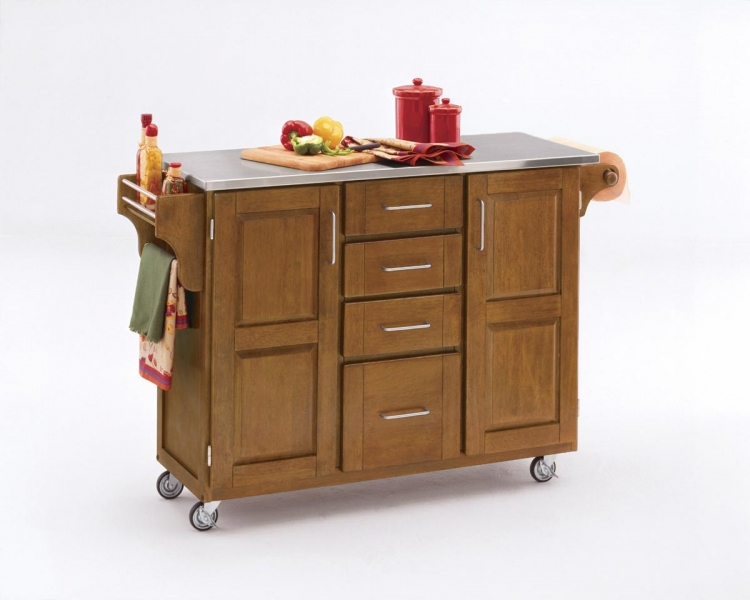 Create-A-Cart Warm Stainless Top - Cottage Oak