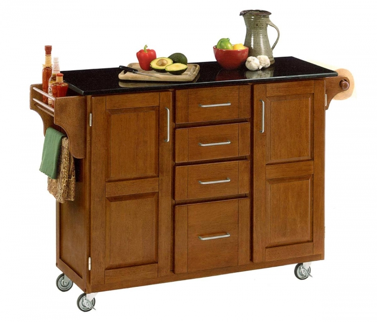 Create-A-Cart Warm Black Granite Top - Cottage Oak