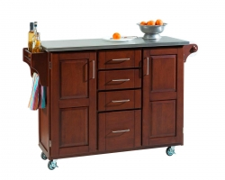 Create-A-Cart Stainless Top - Cherry - Home Styles