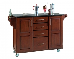 Create-A-Cart Black Granite Top - Cherry - Home Styles