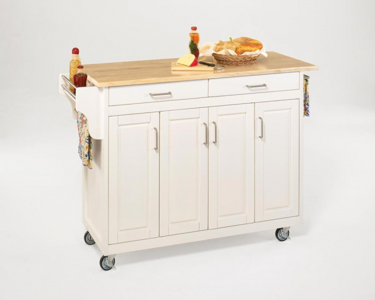 Create-A-Cart with Wood Top - White