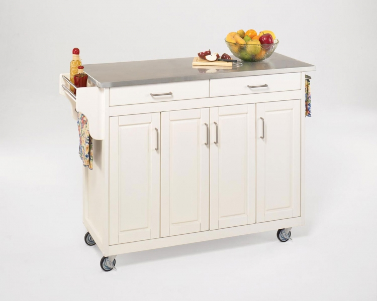 Create-A-Cart Stainless Top - White - Home Styles