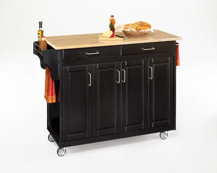 Create-A-Cart with Wood Top - Black