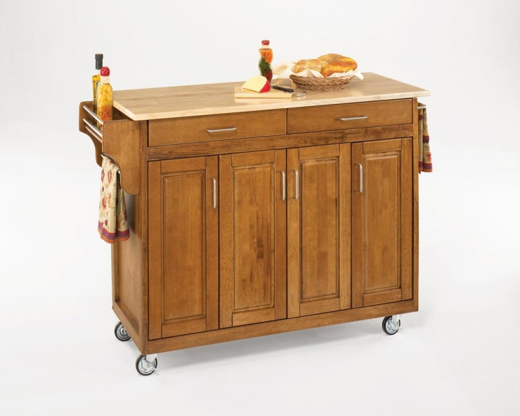 Create-A-Cart with Wood Top - Cottage Oak