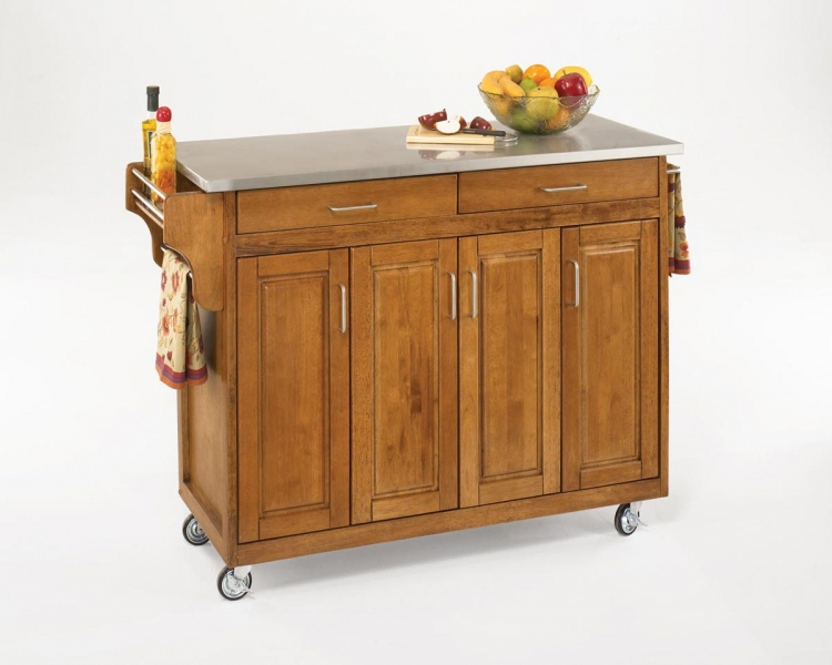 Create-A-Cart Stainless Top - Cottage Oak