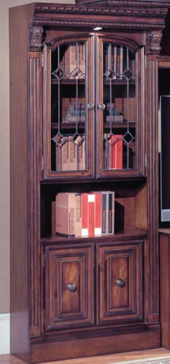 Parker House Huntington Library 32in Glass Door Bookcase- Wine Center