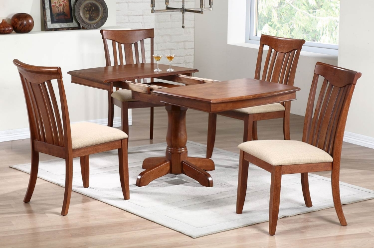 Single Pedestal Boat Shaped Dining Set with Modern Slat Back Chair - Cinnamon