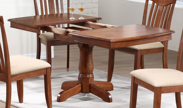 Single Pedestal Boat Shaped Dining Table - Cinnamon/Cinnamon