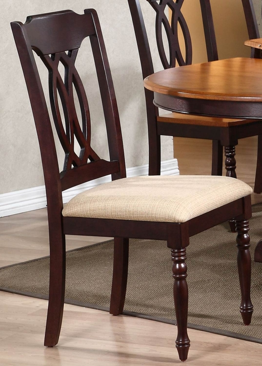 Traditional Back Dining Chair with Upholstered seat - Mocha
