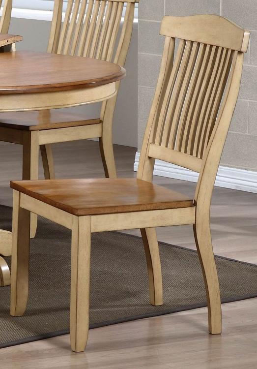 Open Slat Back Dining Chair - Honey/Sand