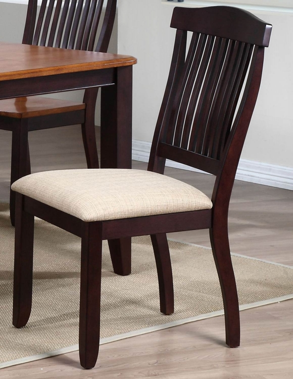 Open Slat Back Dining Chair with Upholstered seat - Mocha