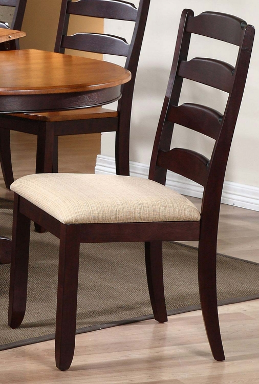 Ladder Back Dining Chair with Upholstered seat - Mocha