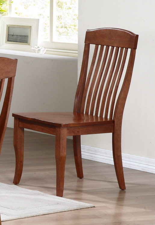 Contemporary Slat Back Dining Chair - Cinnamon/Cinnamon