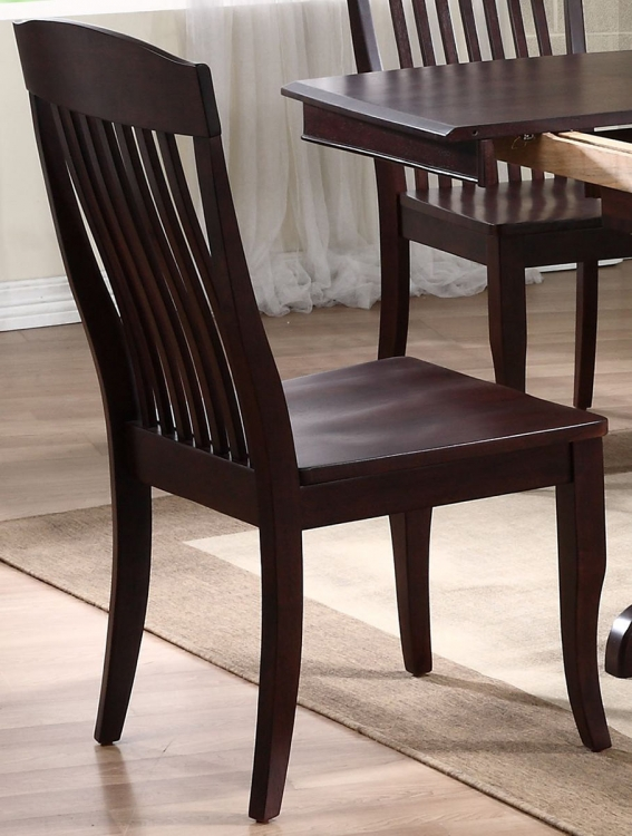 Contemporary Slat Back Dining Chair - Mocha/Mocha