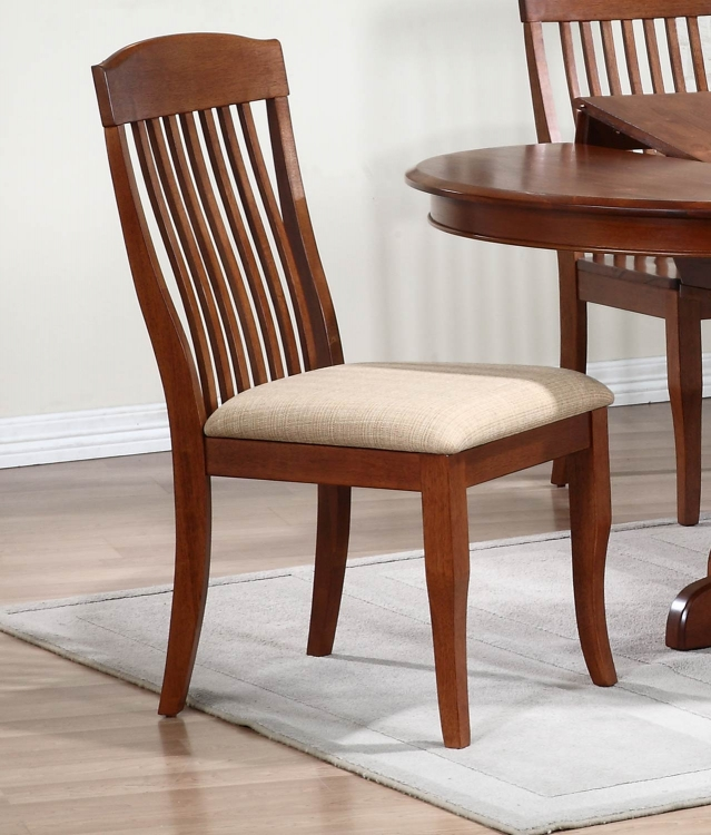 Contemporary Slat Back Dining Chair with Upholstered seat - Cinnamon