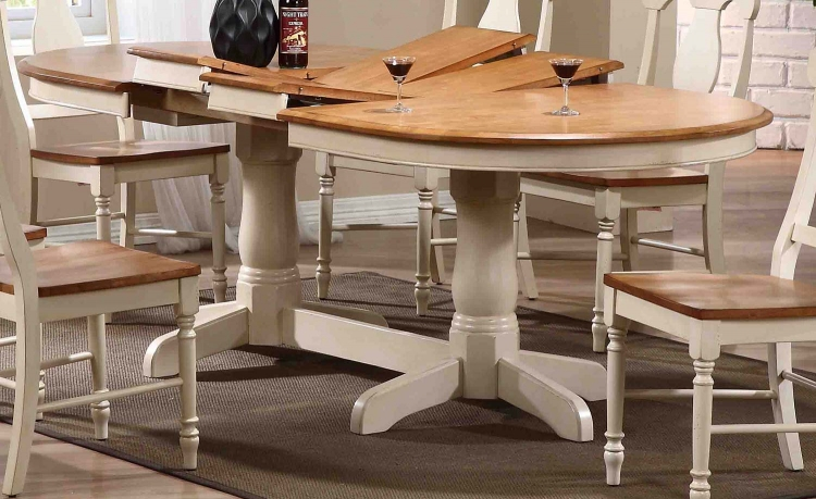 Oval Double Pedestal Dining Table - Caramel/Biscotti