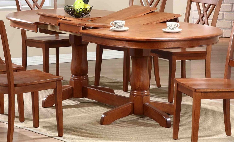 Oval Double Pedestal Dining Table - Cinnamon/Cinnamon