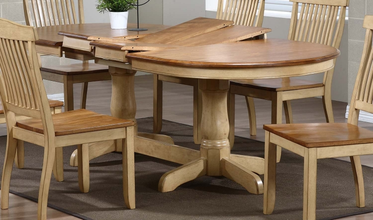 Oval Double Pedestal Dining Table - Honey/Sand