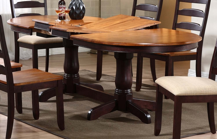 Oval Double Pedestal Dining Table - Whiskey/Mocha